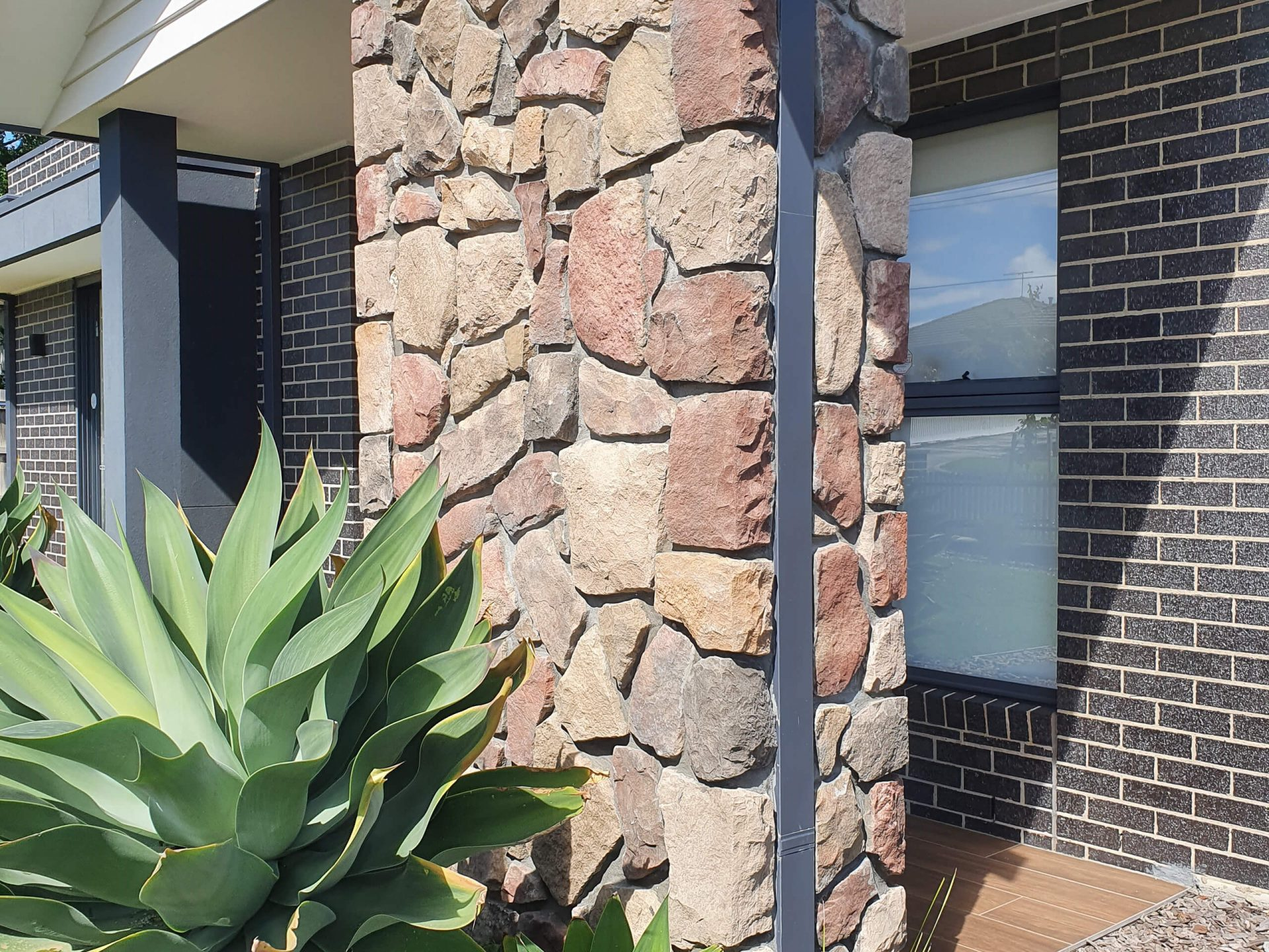 Front Facade stone look tiled