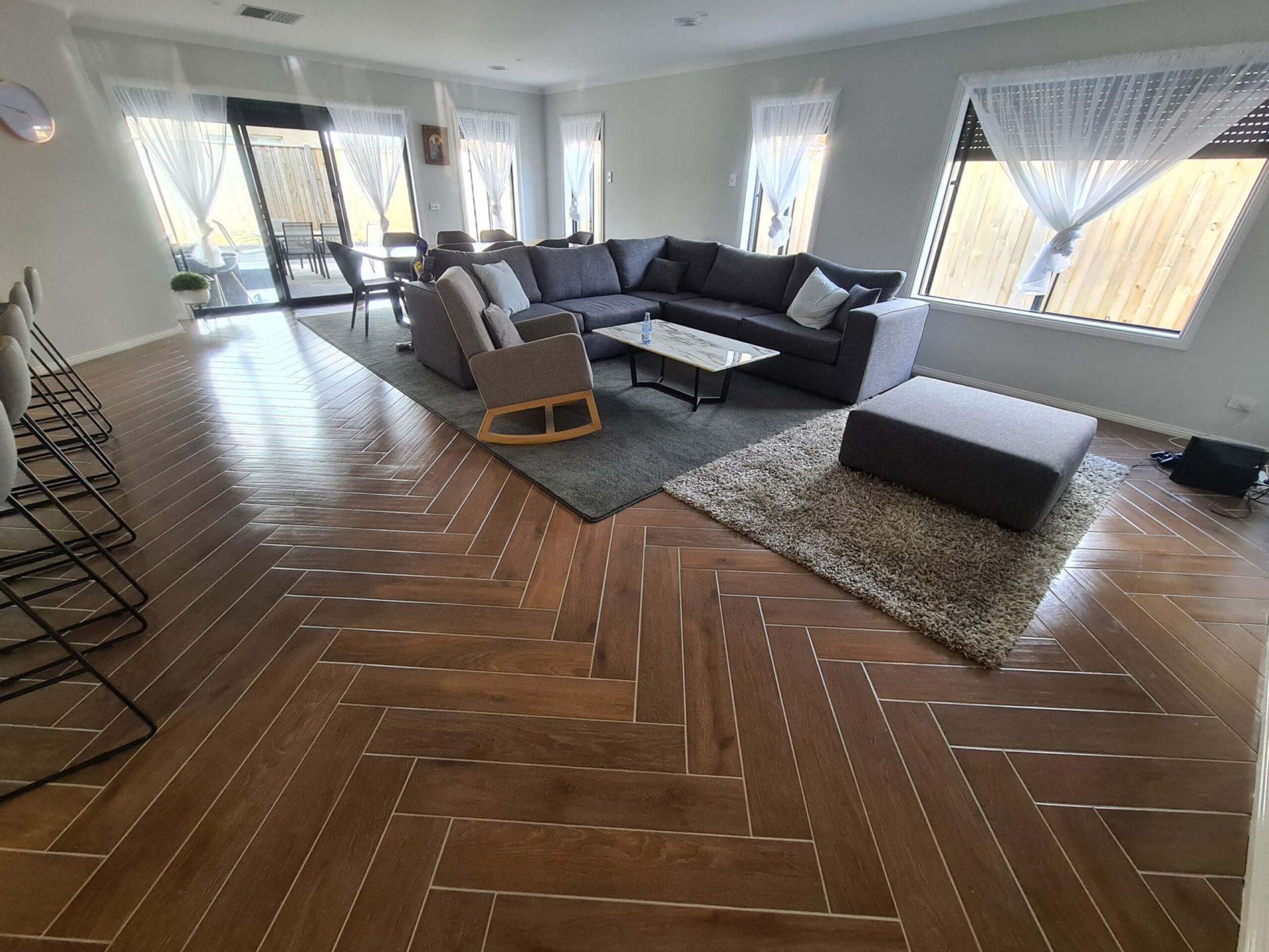 Lounge area tiled