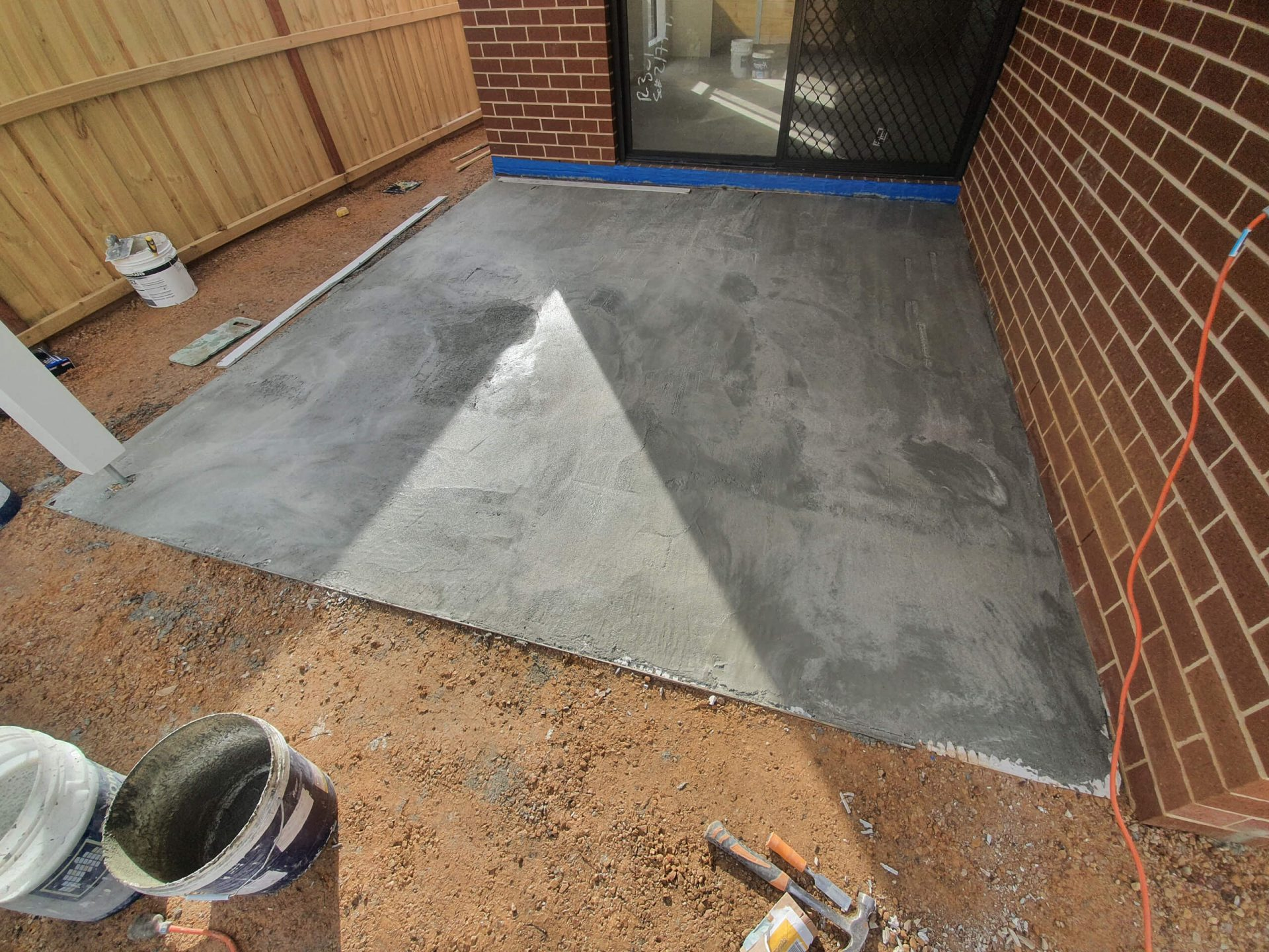 Screed complete in alfresco ready to tile